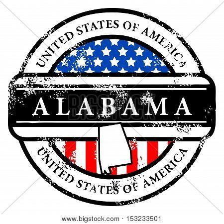 Grunge rubber stamp with name of Alabama, vector illustration