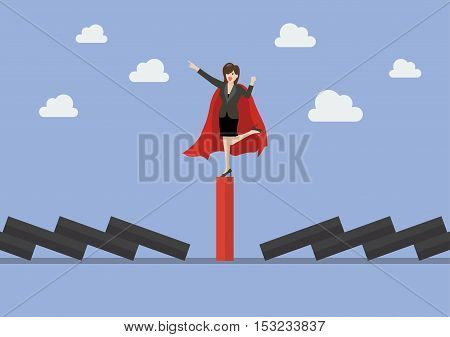 Business woman on unique red domino tile among falling black dominoes. Be different concept