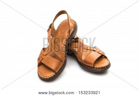 womens leather sandals isolated on white background