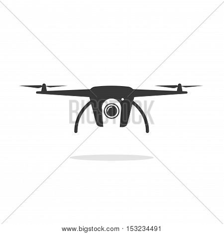 Drone icon vector isolated on white background, black and white drone shape, copter silhouette, monochrome flat pictogram