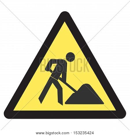 under construction road sign worker street symbol