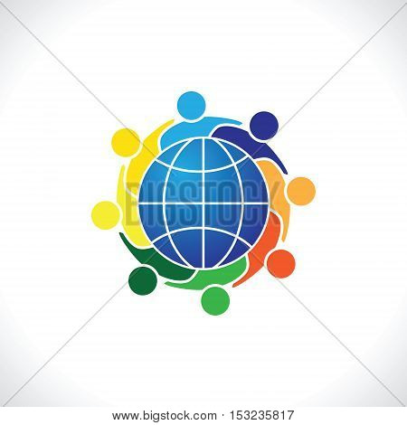 Community of people joined around the globe 8.people icon. people friends logo concept vector icon. this icon also represents friendship, partnership cooperation unity,