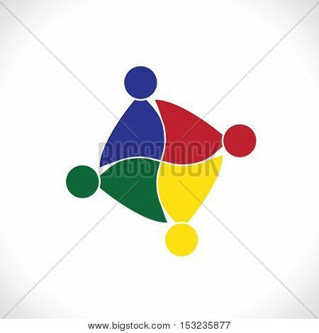 Teamwork Meeting 4. people icon. people friends logo concept vector icon. this icon also represents friendship, partnership cooperation unity,