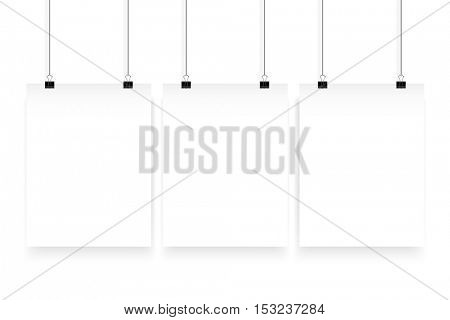 Vector poster mockup. A4 blank paper mock up hanging on office clip. Paper gallery set on white background.