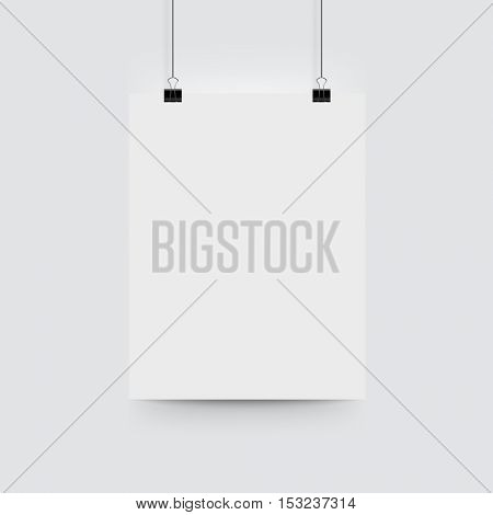 A4 poster mockup. Vector mock up blank paper hanging on office clip on white background.