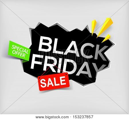 Black friday banner on gray background. Cracked hole in wall with black friday inscription. Sale and discount. New offer. special offer. Vector illustration.