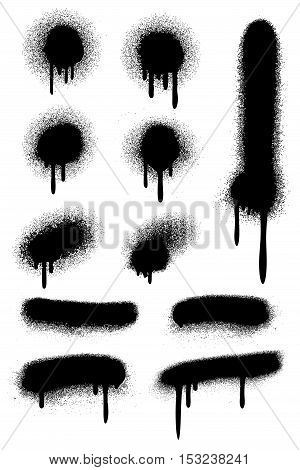 Black spray paint with paint drips isolated on white vector set. Stain ink dirty illustration