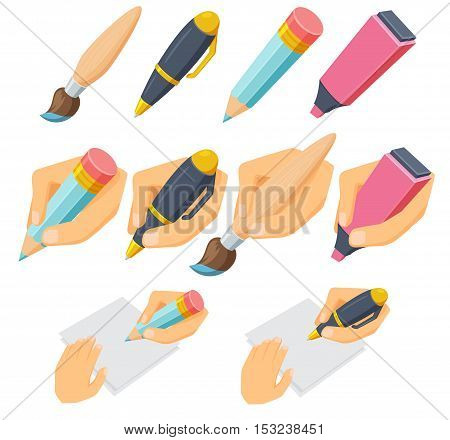 Hand with pen, pencil, brush, marker set. Process of writing, drawing, sketching, painting. Hand holding pen, pencil, brush and marker cartoon vector illustration. Pen, pencil, brush in hand on white