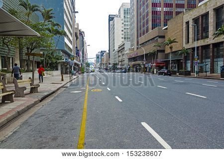 Quiet Early Morning On Anton Lembede Street In Durban
