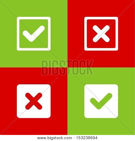Set of vector buttons with check marks, ticks, x. checkbox. Web and mobile applications.confirmation, acceptance positive passed voting agreement true and form of access denial, refusing. red, green