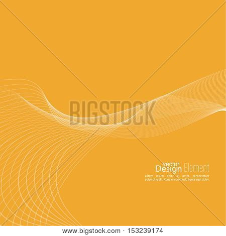 Abstract techno background with lines in waves. Technology, technical vector. Futuristic high tech design for scientific cover book, brochure, flyer, poster, magazine, website. yellow