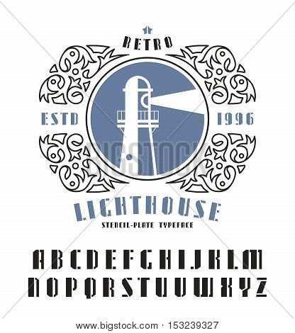 Stock vector set of sanserif stencil-plate font and lighthouse emblem. Bold typeface