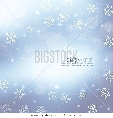 Gentle soft winter abstract background with falling scatter snowflakes, ice crystals and sparkles, glint, twinkle. Elegant blurry backdrop for festive decoration. Vector.