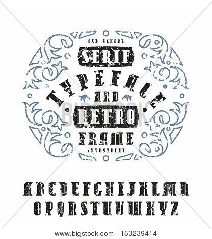 Stock vector set of serif font in retro style. Bold typeface with shabby texture