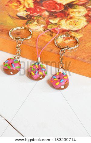 Donut keychain from polymer clay. Original keychains