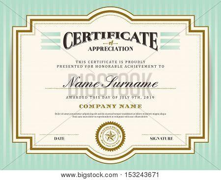 Vintage retro border and frame certificate background design template