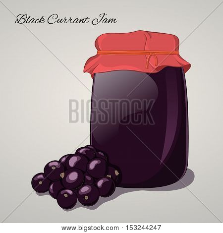 Black Currant jam in a jar and fresh currants isolated on grey background. Simple cartoon style. Vector illustration.