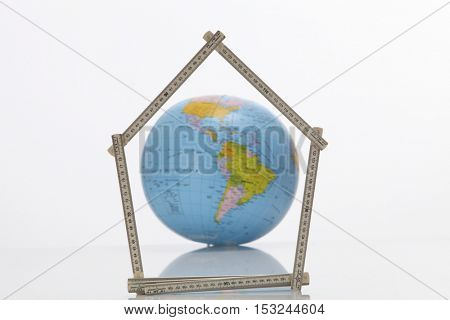 America  with the fold able ruler folded in to a house shape