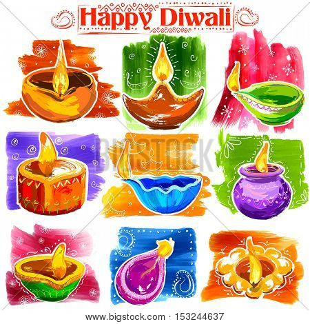 illustration of burning diya on Holiday watercolor banner background for light festival of India with message Shubh Deepawali meaning Happy Diwali