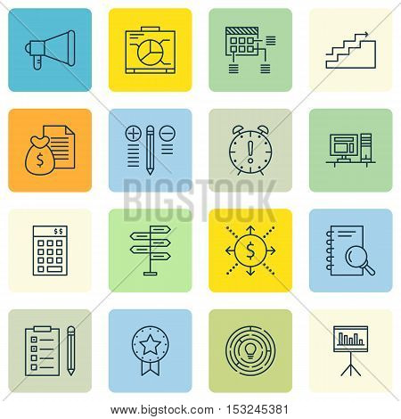 Set Of Project Management Icons On Decision Making, Report And Reminder Topics. Editable Vector Illu