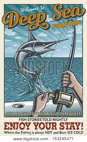 Vintage deep sea fishing poster with hands holding fishing rod, catching swordfish in the open sea on the boat. With grunge texture. Layered, separate text and texture.