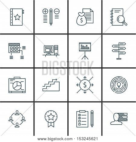 Set Of Project Management Icons On Collaboration, Report And Personal Skills Topics. Editable Vector