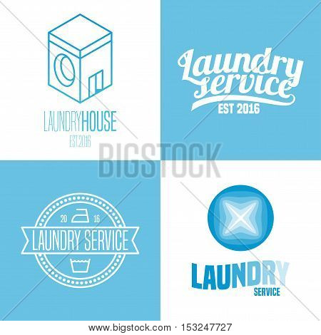 Laundry washing service set of vector logo icon symbol emblem sign. Design elements with washing machine for business related to laundry
