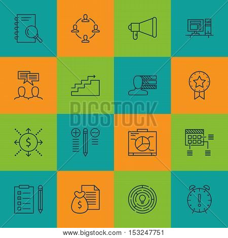 Set Of Project Management Icons On Growth, Collaboration And Schedule Topics. Editable Vector Illust