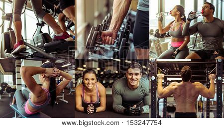 Collage of beautiful sports couple training in gym