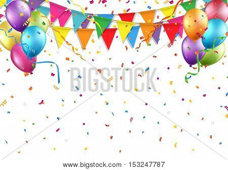Festive background with party flag, balloon, confetti, and streamer