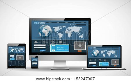 Vector multiple devices with website on white background