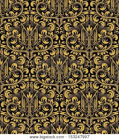 Damask seamless pattern repeating background. Gold black floral ornament with M letter in baroque style. Antique golden repeatable wallpaper.