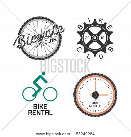 Bicycle shop rent a bike bicycle repair set of vector logo icon symbol emblem sign. Graphic design element illustration for identity poster web banner