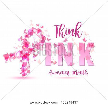 Breast Cancer Awareness Concept Illustration: Pink Ribbon Symbol, Pink Watercolor Blots With Text Th