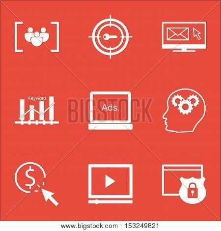 Set Of Marketing Icons On Keyword Marketing, Newsletter And Keyword Optimisation Topics. Editable Ve