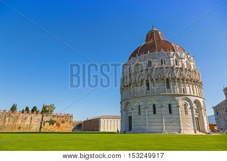 PISA, ITALY - SEPTEMBER 2016: Pisa Baptistery of St.John, Battistero di San Giovanni, Roman Catholic ecclesiastical building in Pisa, Italy on September 22, 2016
