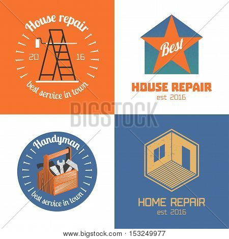 Set of home repair house remodel vector icon symbol sign logo emblem. Template graphic design elements for construction company builders home and house maintenance with building tools strairs