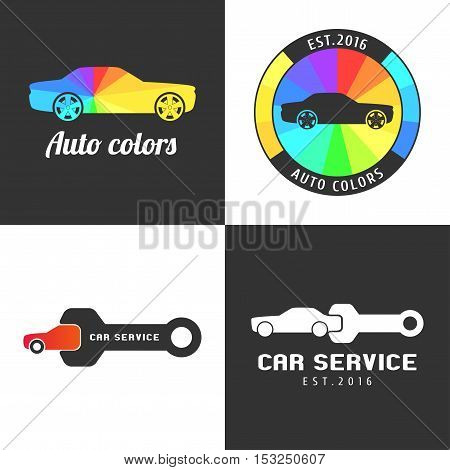 Set collection of car paint car parts vector icon symbol sign logo emblem. Template graphic design element for professional automobile garage car service shop with spraying airbrushing