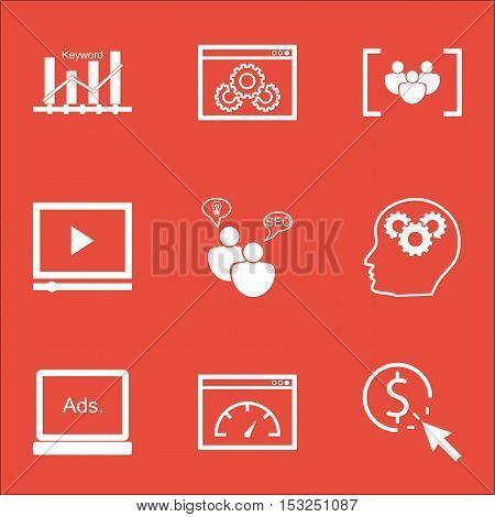 Set Of Marketing Icons On Digital Media, Video Player And Loading Speed Topics. Editable Vector Illu