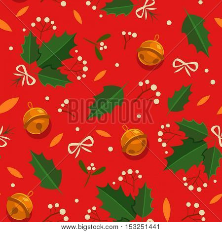 Christmas seamless pattern with holly, bow and sleigh bells.