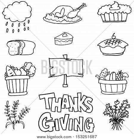Doodle of thanksgiving stock colelction vector art