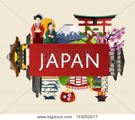 Japan travel poster with girl in traditional kimono, torii gate, fujiyama, buddha statue, ancient temples and other, vector illustration. Explore Japan landmarks. Discover Japan and Japanese culture. Oriental landmarks. Japanese vacation.