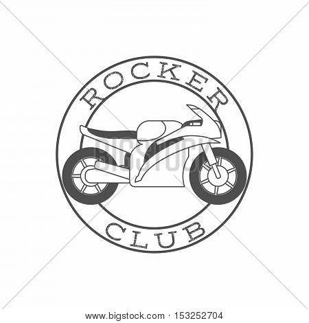 Rocker club retro label in circle shape. Vector illustration