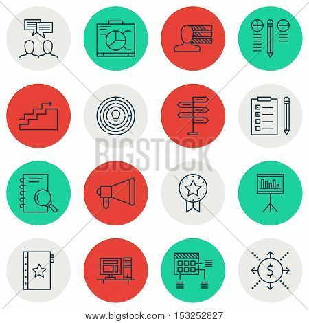 Set Of Project Management Icons On Personal Skills, Announcement And Present Badge Topics. Editable