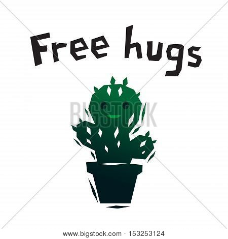 Green free hugs smiling cactus logo, vector template