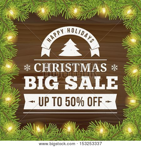 Christmas big sale offer poster vector background advertisement. Business sign on wood plank backdrop with twig and light bulbs for website banners or print design.