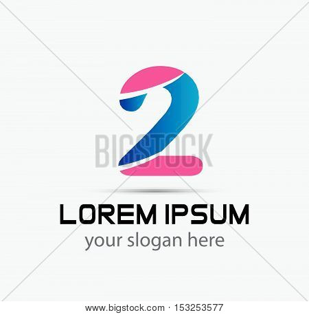 Number 2 logo. Vector logotype design design vector template