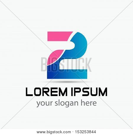 Abstract Number 2 logo Symbol icon design vector template