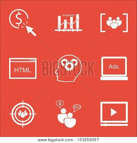 Set Of Marketing Icons On Seo Brainstorm, Video Player And Ppc Topics. Editable Vector Illustration.