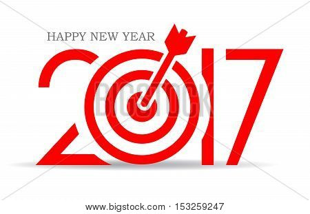 Successful new year card design, reach your goals, motivational symbol vector illustration isolated on white background